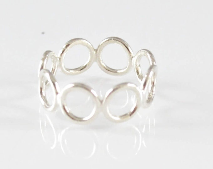 Open Circles Band Ring, Ring of Circles Statement Ring