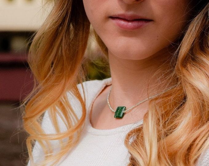 Green African Jade Miniimalist Choker by Lepa Jewelry (K423)
