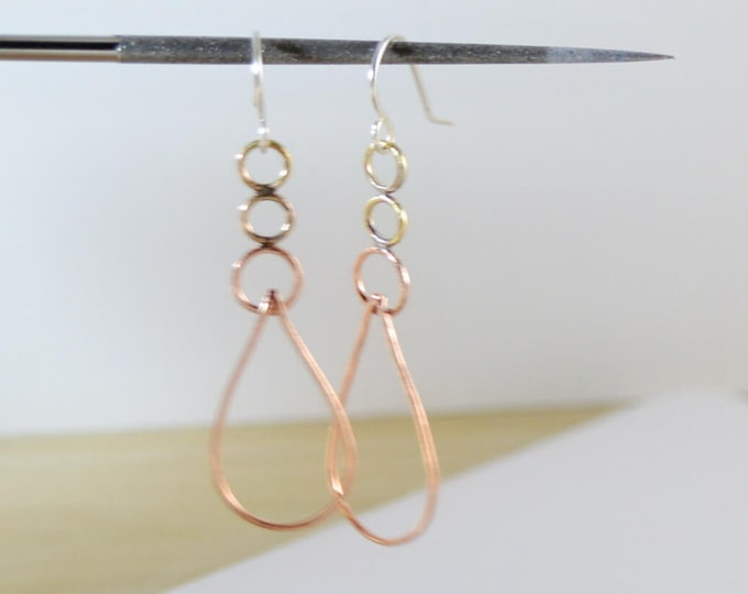 Copper Dangle Hoop Earrings Layered - Lepa Jewelry (K791)