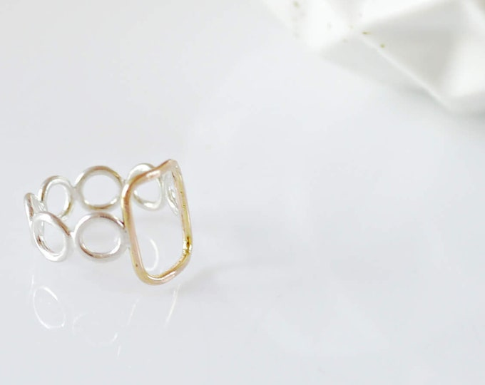 Delicate Gold and Silver Geometric Ring
