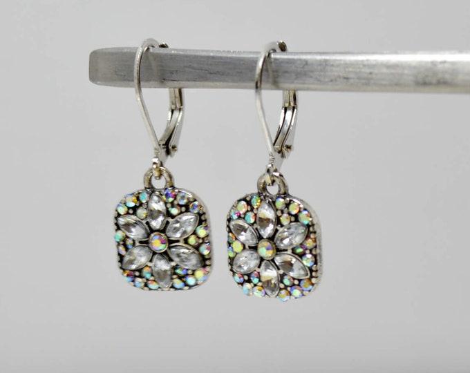 Square Flower Earrings Art Deco Style by Lepa Jewelry (K515)