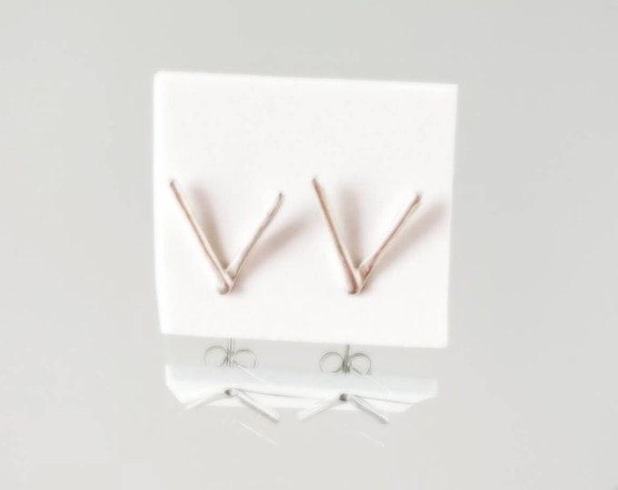 Silver Stud Earrings, Modern V Shape Chevron Earrings