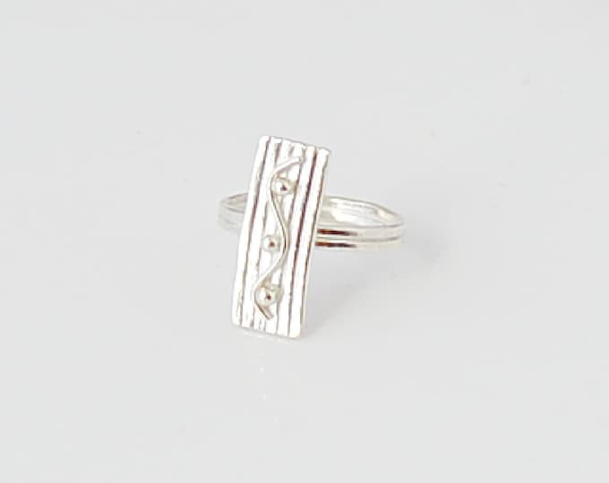 Silver Artisan Ring, Skinny Rectangle Ring, Boho Chic Style