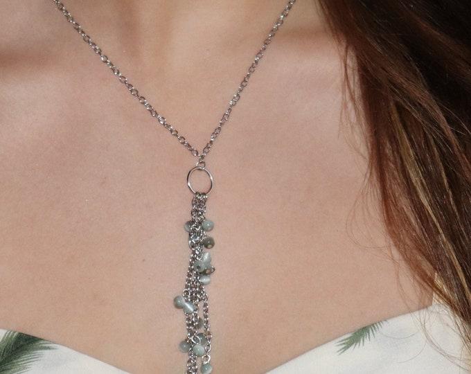 Green Y Tassel Necklace by Lepa Jewelry (K263)