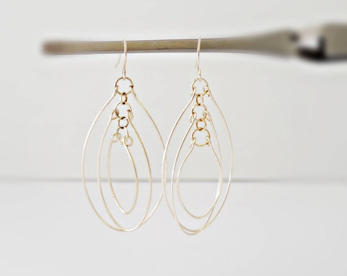 3 Ovals Wire Hoop Earrings Lepa Jewelry (K727)