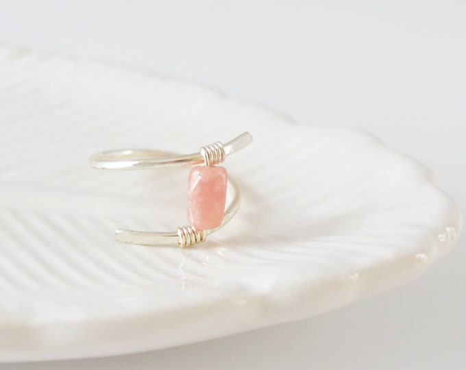 Pink Gemstone Ring, Silver Crossover Ring