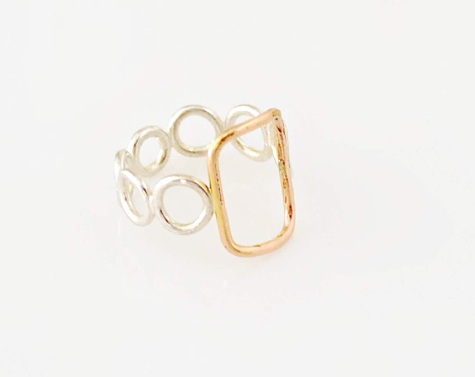 Minimalist Gold and Silver Geometric Ring, Unique Handmade Cocktail Ring For Her