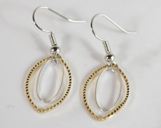 Chic Two Toned Gold and Silver Drop Earrings by Lepa Jewelry (K546)