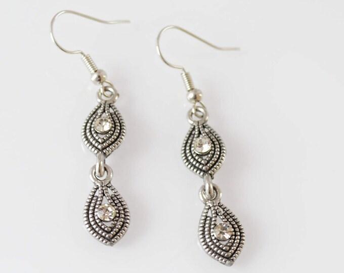 Vintage Inspired Art Deco Silver Black Earrings by Lepa Jewelry (K534)