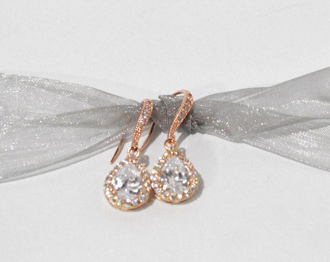 Rose Gold Tear Drop Bridal Earrings (1 Drop) by Lepa Jewelry (K412)
