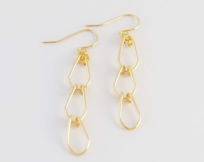 Gold Dangle Earrings - Cascade Oval Link Earrings - Lepa Jewelry (K797)