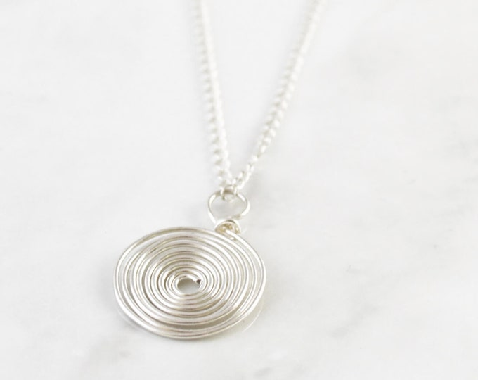 Silver Egyptian Inspired  Coil Necklace, Spiral Circle Pendant Necklace