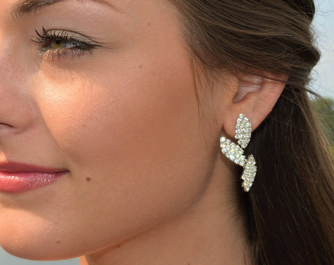 Crystal Leaf Wedding Drop Earrings by Lepa Jewelry (K413)