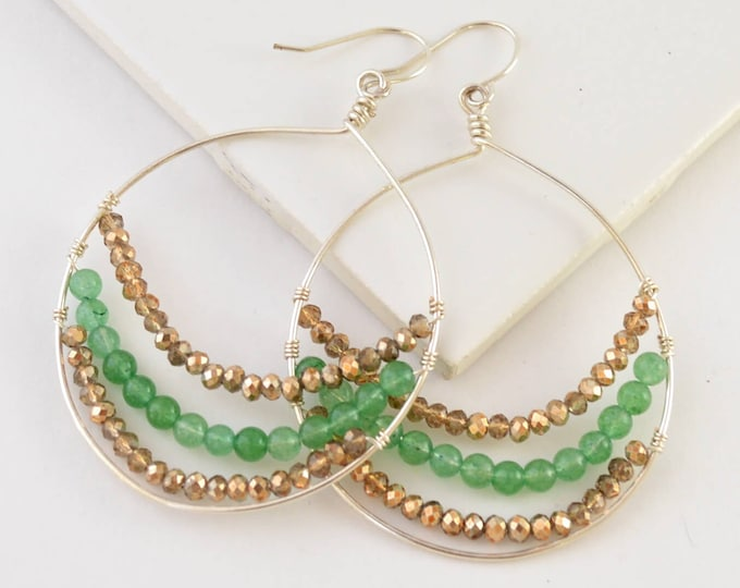 Bead Gemstone Hoop Earrings - Green Aventurine Brown Amber - Lepa Jewelry (K795)