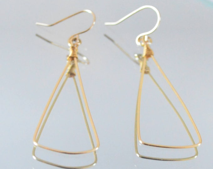 Gold Triangle Dangle Earrings - Simple Lightweight Everyday Earrings