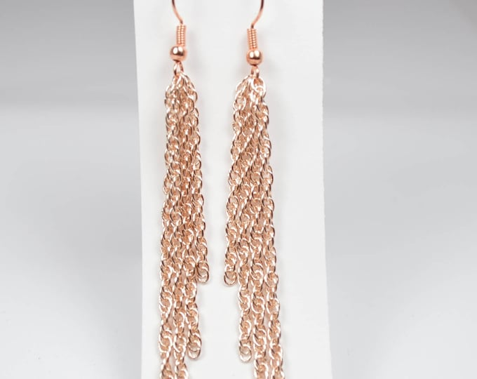 Rose Gold Chain Earrings by Lepa Jewelry (K531)