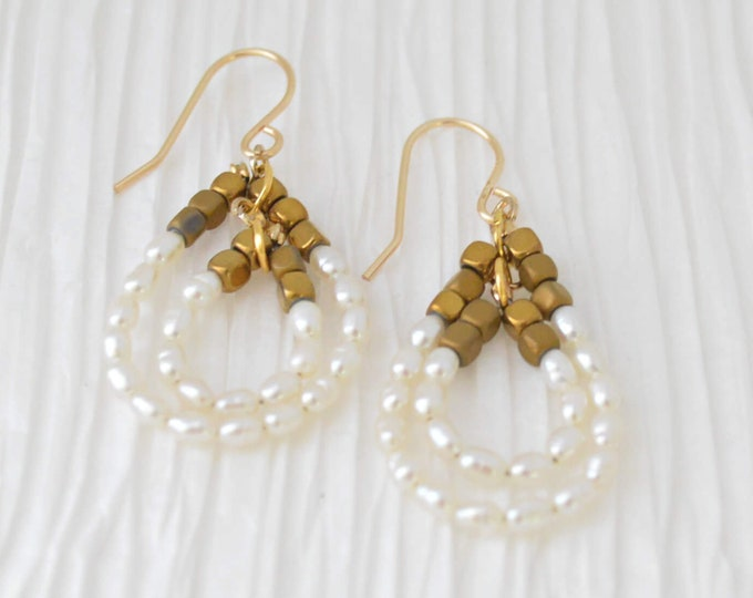 Mother's Day Gift Idea - Modern Pearl Dangle Earrings by Lepa Jewelry