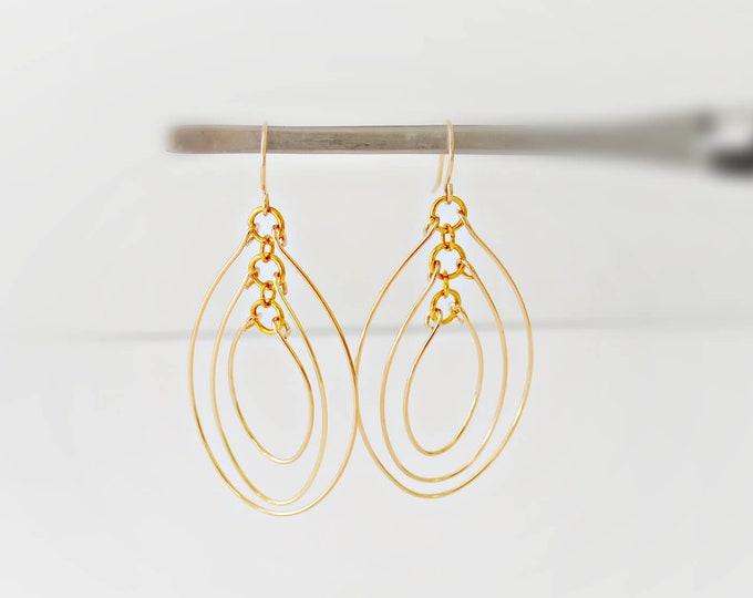 Gold Multi Hoop Wire Oval Earrings  by Lepa Jewelry (K728)