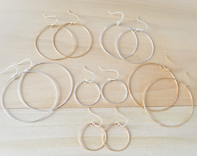 Wire Hoop Earrings - Everyday Summer Hoops