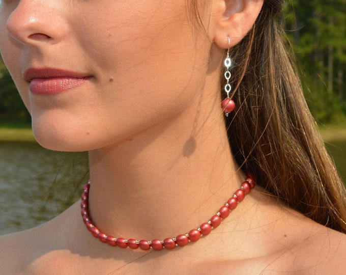 Coral Red Necklace, Bracelet and Earring Set by Lepa Jewelry (K405)