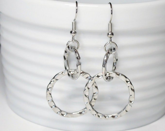 Modern Silver Double Drop Earrings, Hammered by Lepa Jewelry (K456)