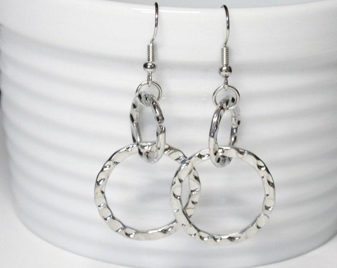 Modern Silver Double Drop Earrings, Hammered by Lepa Jewelry (K456)