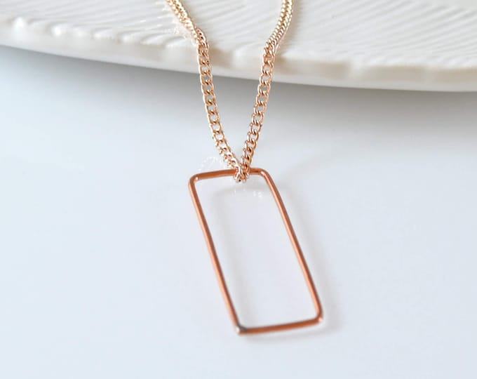Rectangle Open Bar Pendant Necklace, Simple Layering Necklace for Her