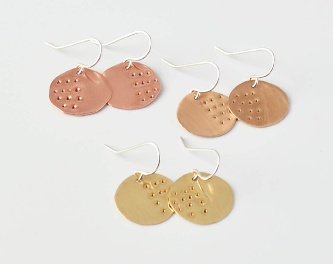 Simple Textured Round Disc Earrings, Unique Minimalist Gift for Her