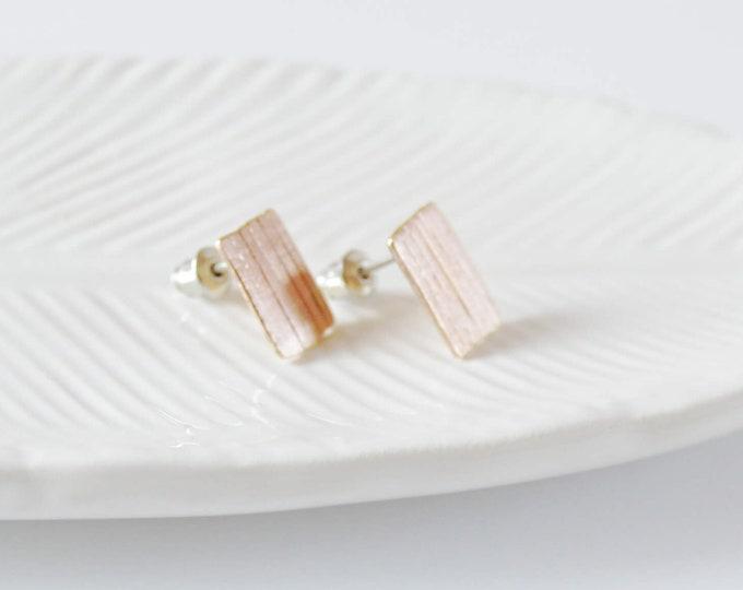Gold Stud Earrings, Rectangle Bar Earrings