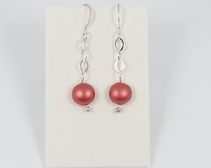 Coral Red Drop Earrings by Lepa Jewelry (K522)