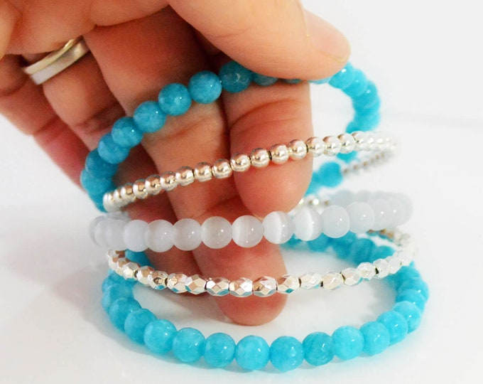 Aqua Blue and Silver Multi Layer Bracelet for Her - Lepa Jewelry (K768)