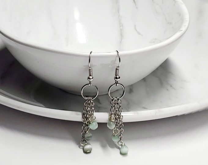 Delicate Green Drop Earrings By Lepa Jewelry (K264)