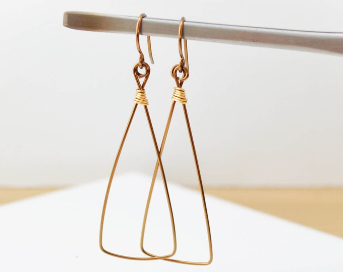 Dainty Copper and Gold Triangle Dangle Earrings
