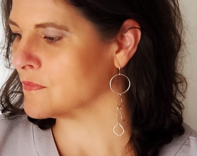 Long Dangle Earrings, Silver Linear Geometric Earrings