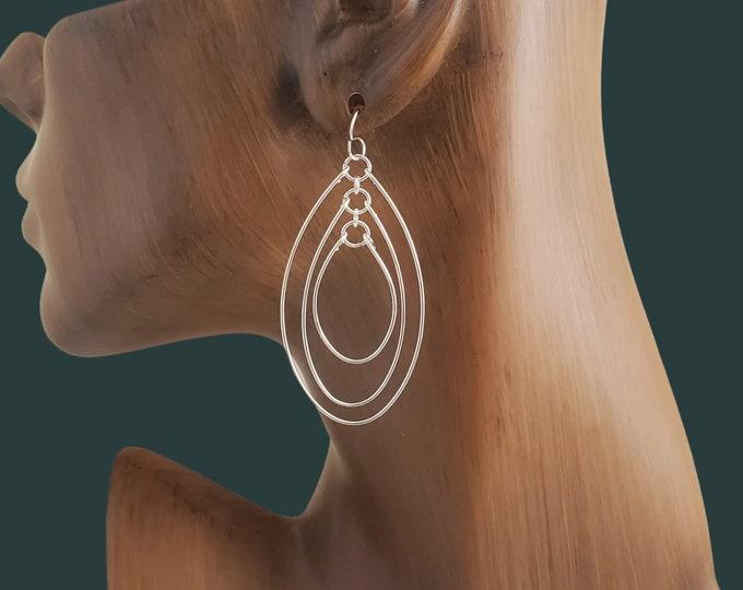 Modern Bohemian Dangle Earrings, Boho Chic Jewelry Gift for Her