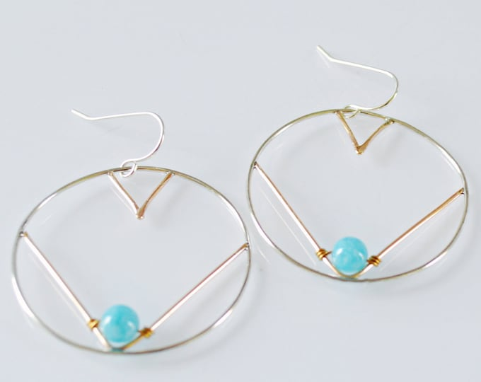 Modern Geometric Hoop Earrings with Blue Aquamarine