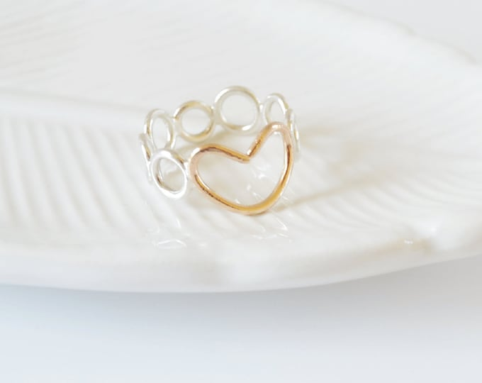 Open Heart Ring, Simple Two Toned Geometric Heart Ring, Unique Jewelry Gift for Her