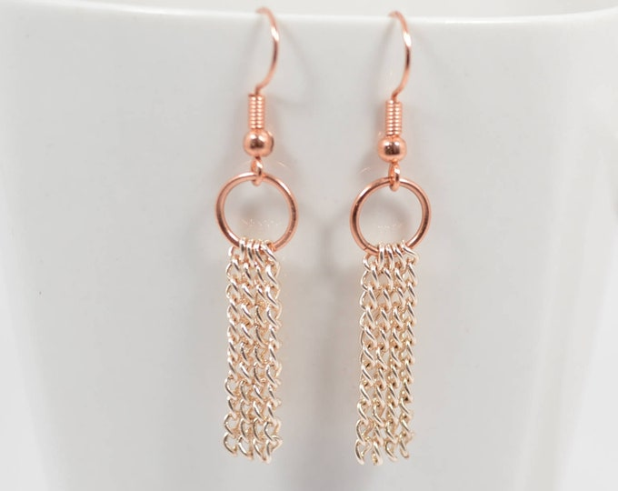 Rose Gold Chain Earrings By Lepa Jewelry (K503)