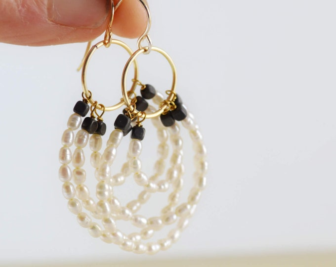 Circle Hoop Pearl and Hematite Dangle Earrings by Lepa Jewelry