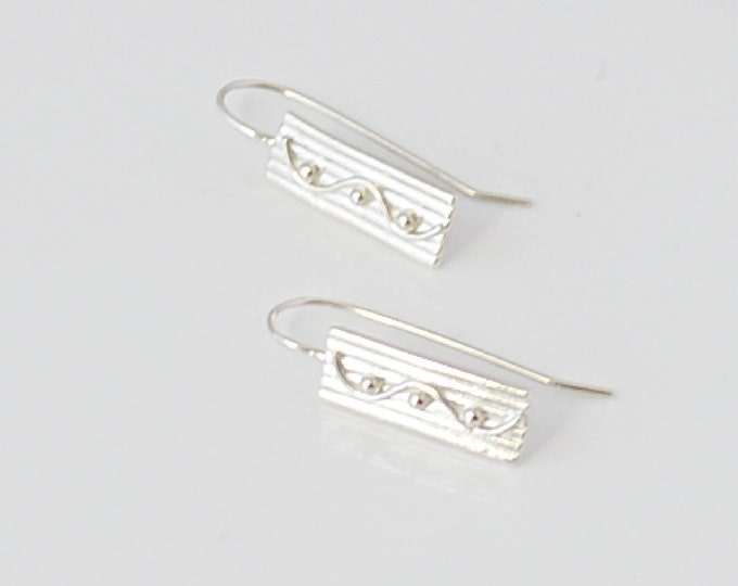 Silver Bar Earrings, Rectangle Threader Dangle Earrings