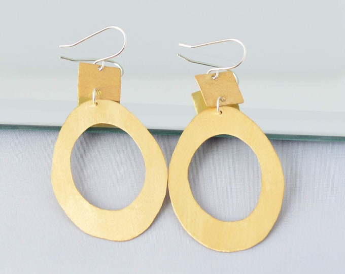Brushed Gold Geometric Statement Earrings, Bold Fashion Jewelry