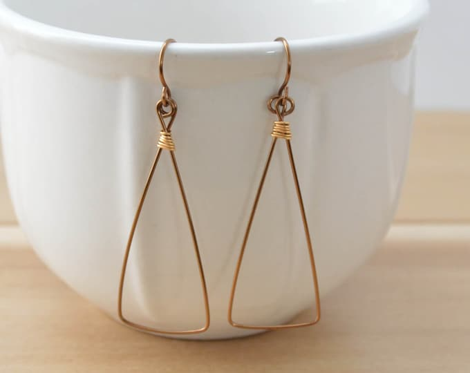 Lightweight Copper Triangle Earrings - Lepa Jewelry (K761)
