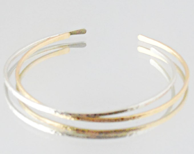 Silver and Gold Stacking Bracelets, Dainty Hammered Cuff Bracelets, Modern Chic Jewelry