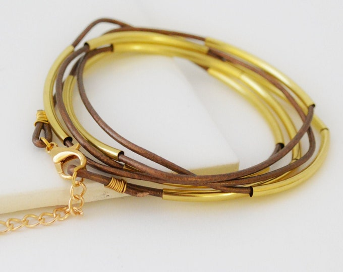 Brown Leather and Gold Tube Multi Strand Wrap Bracelet - Lepa Jewelry (K756)