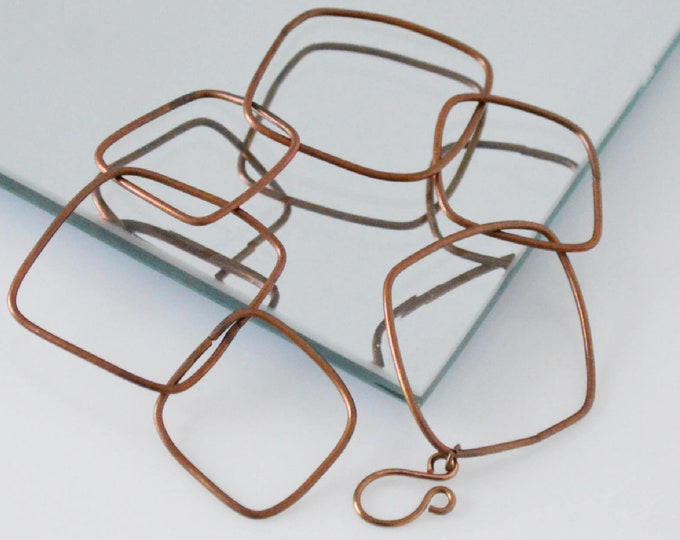Geometric Copper Link Bracelet - Lepa Jewelry (K772)