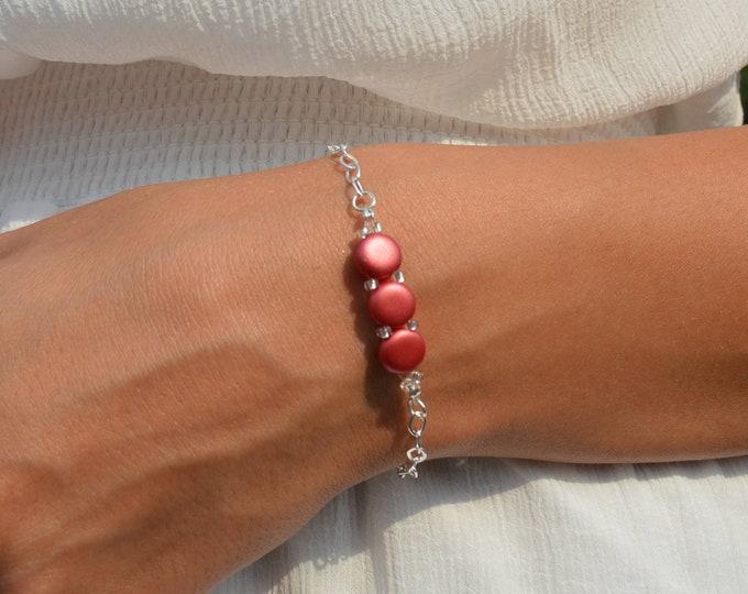 Dainty Coral Red Bracelet Lepa Jewelry (K521)