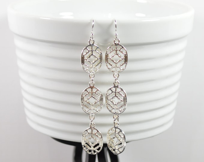 3 Tier Silver Filigree Earrings by Lepa Jewelry (K526)