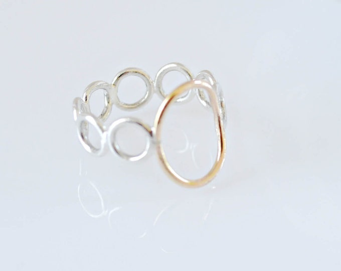 Gold Open Oval Ring with Small Open Circles Band, Unique Two Toned Geometric Ring, Gift for Her