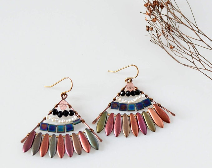 Colorful Boho Statement Earrings, Chic Hippie Style