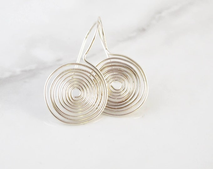 Silver Disc Earrings - Egytian Style Coil Jewelry - Lepa Jewelry (K798)
